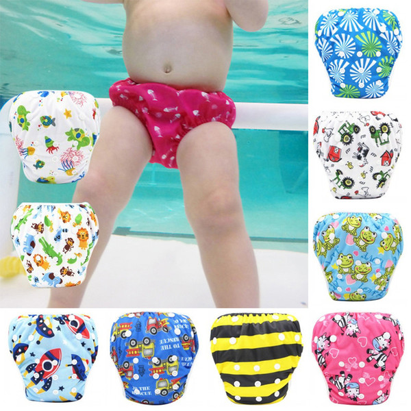Unisex Baby Swimming Pants Waterproof Adjustable Swim Diaper Pool Pant Diaper Reusable Washable Swimming Pants 9 Colors