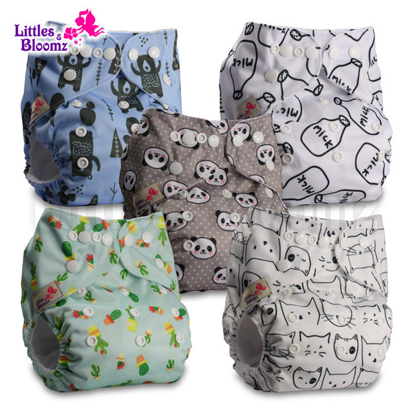 5pcs/set Baby Washable Reusable Real Cloth Pocket Nappy Diaper Cover Wrap, Nappies/diapers And 5 Microfiber Inserts In One Set Q190530