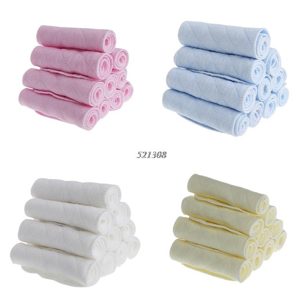 10pcs a lot Tsaujia 3 Layers Ecological Cotton Baby Cloth Nappy Inserts Reusable Washable Diapers Nappy Changing APR12_30