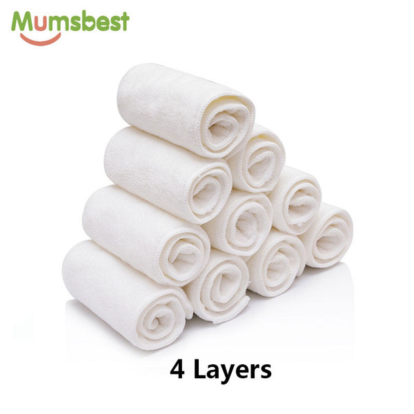 Mumsbest 10 PSC Microfiber Fiber Inserts 4 Layers Washable Reusable Nappies Super Absorbent Used With Pocket Diapers