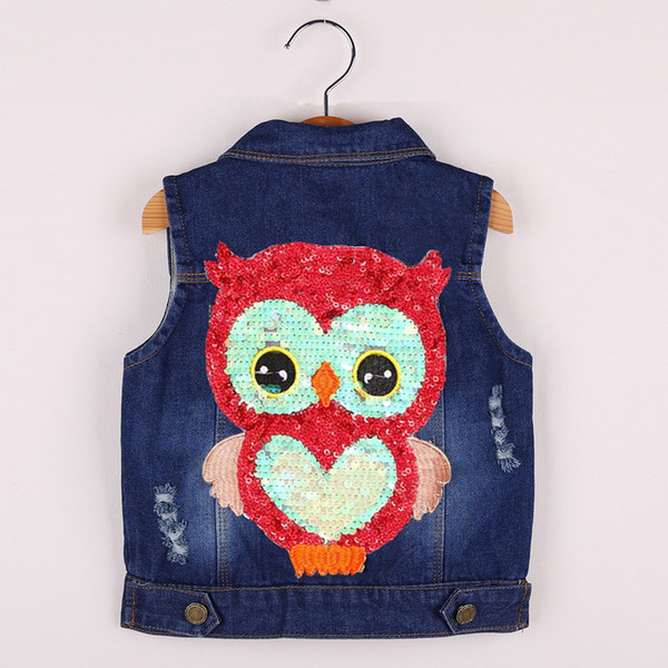 Kids Clothes Girls spring jackets Coat Cartoon Children Clothing Toddler Girl Vest Outerwear Autumn Owl Denim2018
