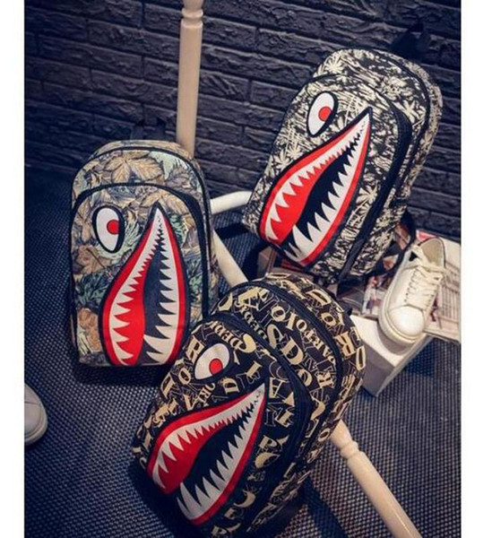 Graffiti Anime Shark Printing Backpack For Teenage Boy Girl Women Men School Bags Cool Laptop Bag Travel Backpack Free Ship