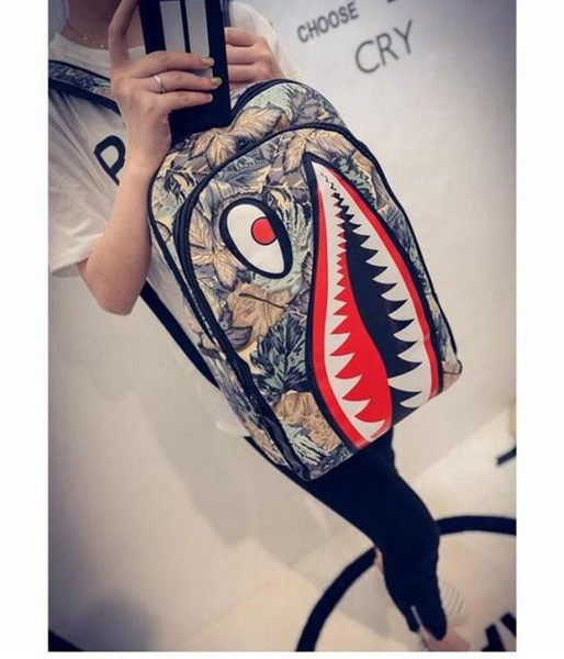 Graffiti Anime Shark Printing Backpack For Teenage Boy Girl Women Men School Bags Cool Laptop Bag Travel Backpack