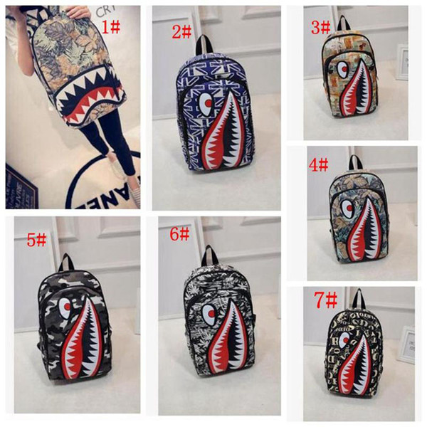 Graffiti Anime Shark Printing Backpack For Teenage Boy Girl Women Men School Bags Cool Laptop Bag Travel Backpack DHL Free