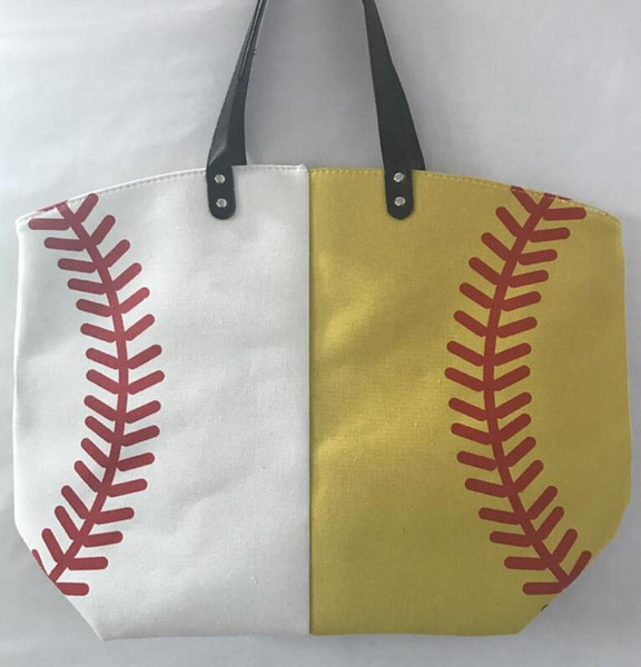 Canvas Bag Baseball Tote Sports Bags Casual Softball Bag Football Soccer Basketball Cotton Canvas Tote Bag
