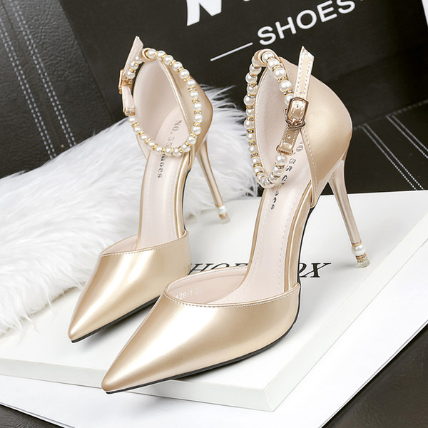 Beading Buckle Strap Summer Sandals Lady Dress Shoes Sexy Women Pumps Heels Thin High Heels Festival Party Wedding Shoes Formal Pumps GWS201