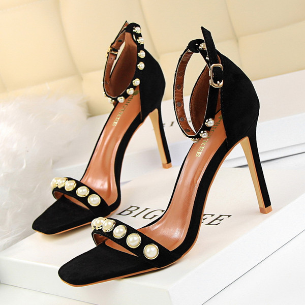 2017 Beading Sandals Women Pumps Heels PU Leather Open Toe Thin High Heels Festival Party Wedding Shoes Formal Pumps Sandals GWS215