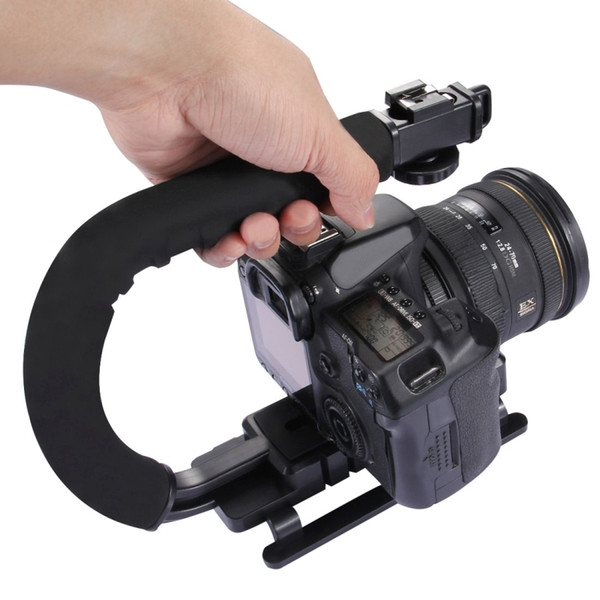 PULUZ DV C shaped Camera 1/4'' Handheld Holder flash bracket U-hand Motion Stabilizer stable frame Grip for video 5d2 DSLR SLR