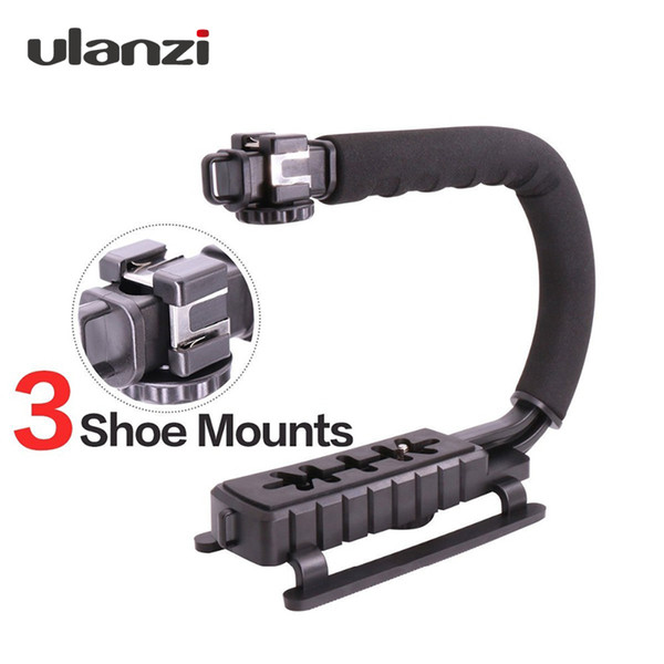 Ulanzi 3 Shoe Mounts Video Stabilizer Handheld Grip For Hero Action Cameras for iPhone Xiaomi Smartphone DSLR