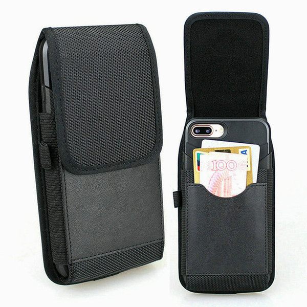 Wholesale 30 Pcs/Lot Vertical Holster Pouch Nylon Belt Loop Case with Built in Card Slots For iPhone XS Max