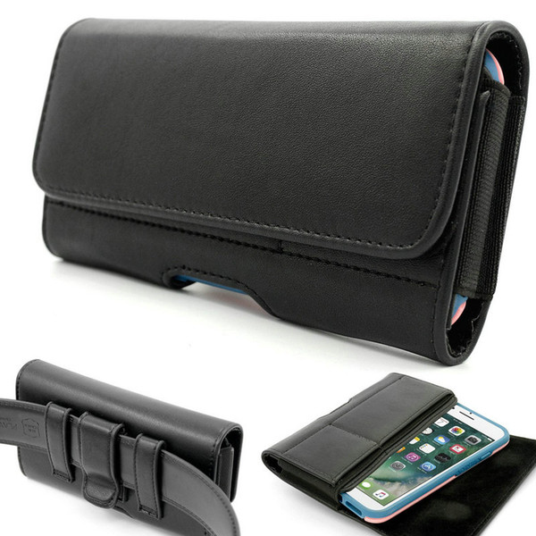 Horizontal Premium Leather Holster Pouch Belt Clip Case with Card Slots for iPhone X Galaxy S8/ Huawei P9 (Fits with a Thin Case)