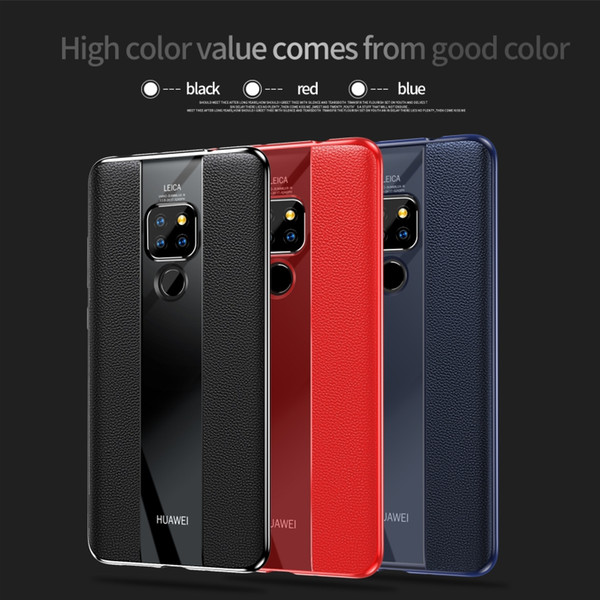 Luxury Original Design Huawei Case with Genuine Leather+Clear TPU Back Cover Anti-Fall Protection Shockproof for Mate10 10pro 20 20pro 20x