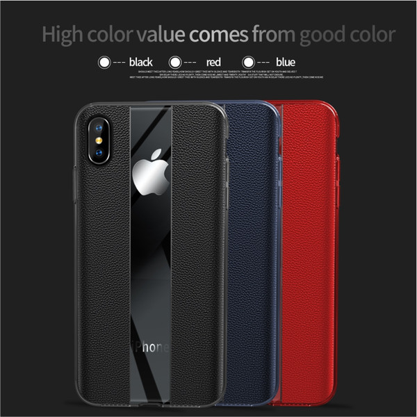 Luxury Original Design Cellphone Case with Genuine Leather+Clear TPU Back Cover Anti-Fall Protection Shockproof for Iphone xs xs max xr