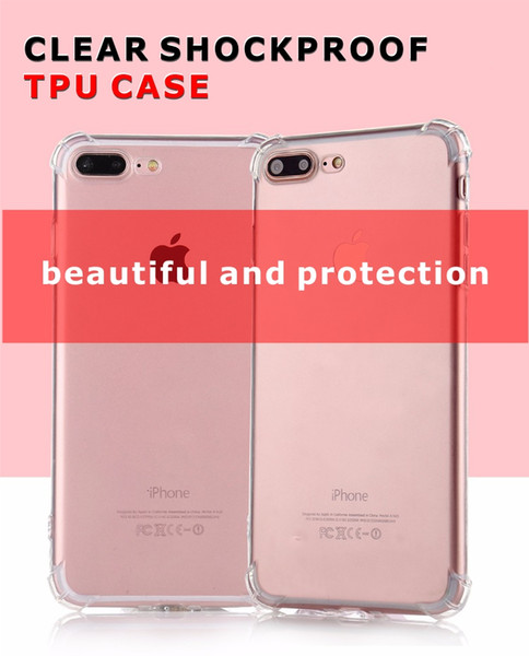 High quality Transparent TPU Iphone 8 Iphone X case Air Cushion Anti Knock Shockproof Hybrid Armor TPU PC Case For iPhone7 Plus