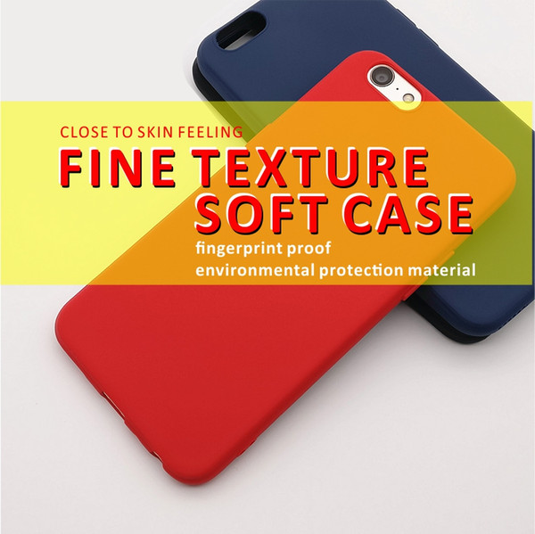 Luxury Silicone Phone Case for iPhone skin feelings Smooth Soft Shockproof TPU Phone case Back cover solid multicolors for Iphone8 IphonX