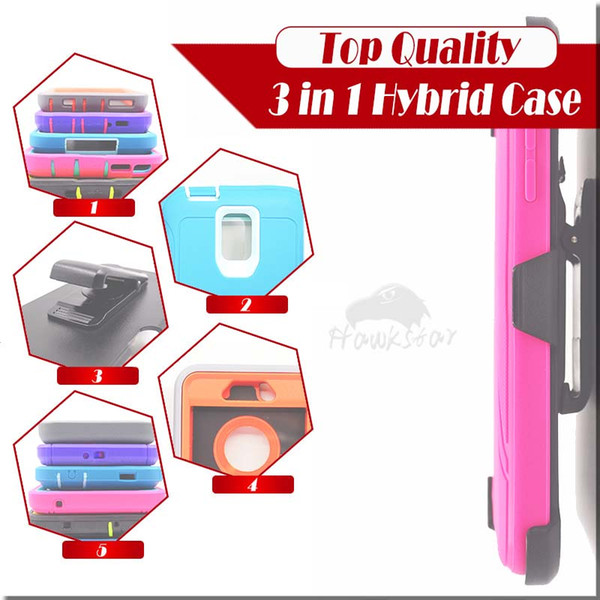 3 in 1 Rugged Armor Hybrid Silicone Cases With Front Screen Belt Clip For iphone XS XR Max 8 7 6 plus Samsung S8 S7 Edge Plus Note9
