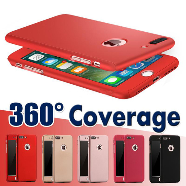 360 Degree Full Coverage Protection With Tempered Glass Hard PC Cover Case For iPhone XS MAX X 8 plus 6S PLUS 5S SE