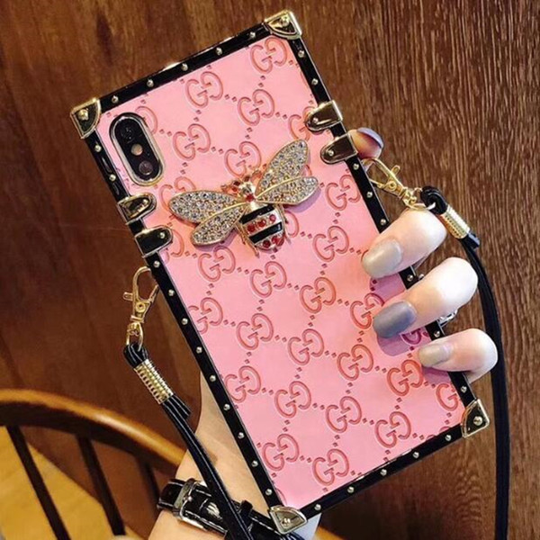 Bling Rhinestone Famous Designer Cover Luxury Phone Cases For iPhone X XR XS Max 8 7 6 6s Plus S9 S10 plus soft Shell Skin Hull + String 508