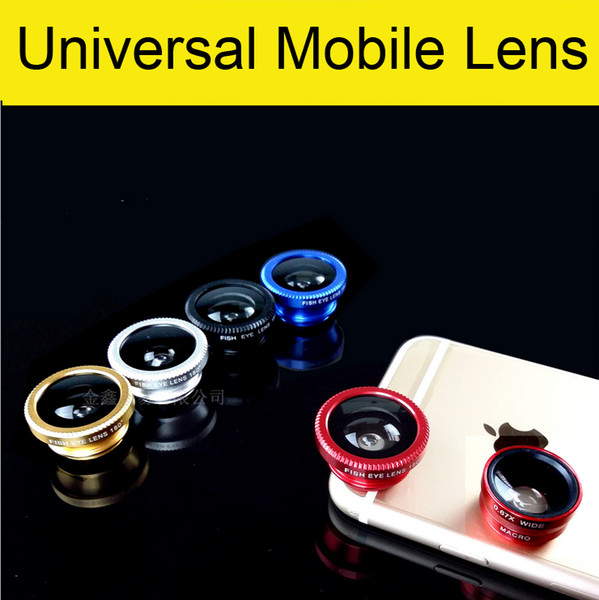 3 In 1 Universal Clip Camera Mobile Phone Lens Fish Eye + Macro + Wide Angle For iPhone 7 Samsung Galaxy S7 HTC Huawei All Phones fisheye