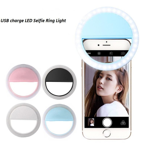 Beauty Selfie Lighting Ring Holder Clip Fill Light Phone Mount Flash Light Up Selfie Lamp Rechargeable with Packing Boxes