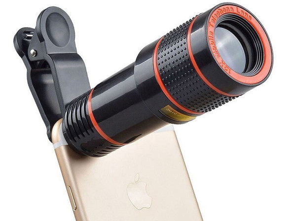 Telescope Lens 12x Zoom unniversal Optical Camera Telephoto len with clip for Iphone Samsung HTC mobile smart cell phone