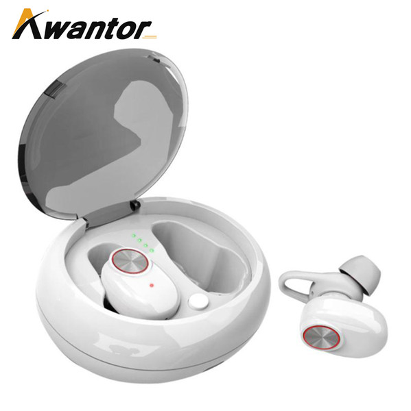 Awantor V5 TWS Dual Earphone Bluetooth 5.0 Headset Wireless Earbud with Handsfree Stereo Music QI-Enabled With Charging Box TWS