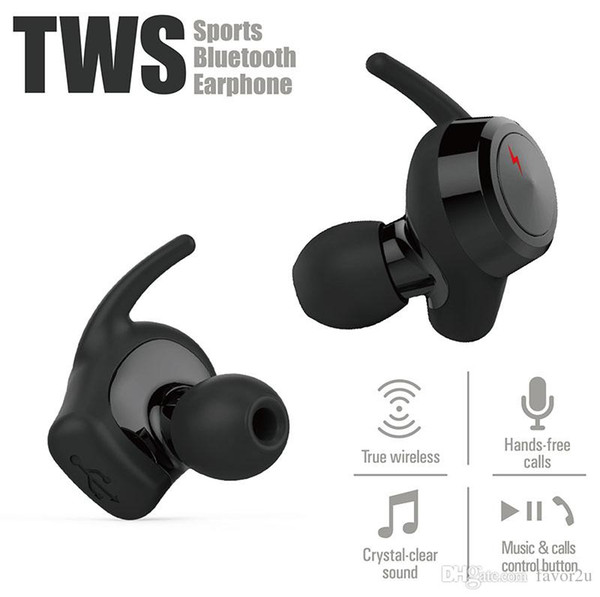 TWS Bluetooth Earphone Real Wireless Stereo for iPhone X/XR/XS/XS MAX and Android mobile phone with Retail Package