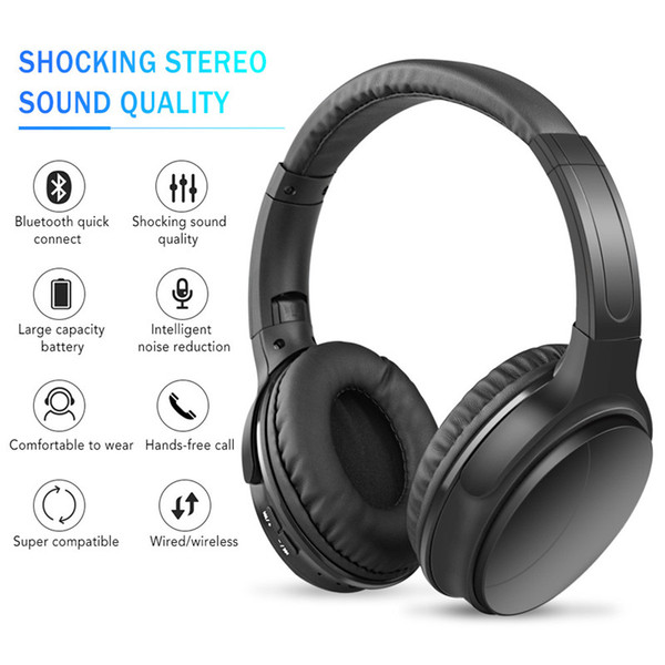 Wireless Bluetooth Headphones sports Music With Card earphone head-mounted Foldable Headset universal mobile phone bilateral stereo with Mic