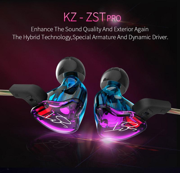 FDBRO KZ ZST Colorful Ear Earphone Music Sports Earbud Hybrid Headset HIFI Bass Noise Cancelling Earbuds With Mic Replaced Cable