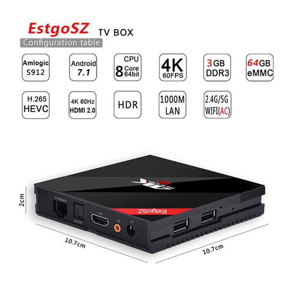EstgoSZ Smart TV BOX 3GB / 64 GB Android 7.1 OS, Amlogic S912 Octa Core 64 bits with Dual Band WIFI 2.4G/5.0 GHz 1000M LAN Mini PC