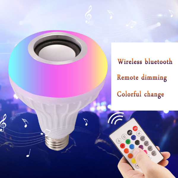 HOT E27 Smart LED Light RGB Wireless Bluetooth Speakers Bulb Lamp Music Playing Dimmable 12W Music Player Audio with 24 Keys Remote Control