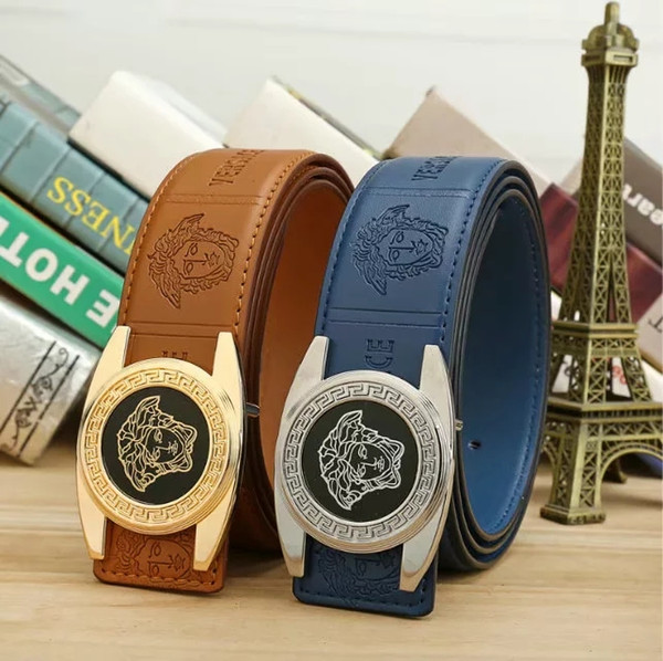 2019 sell high quality design big metal head buckle leather belt for men and women wholesale