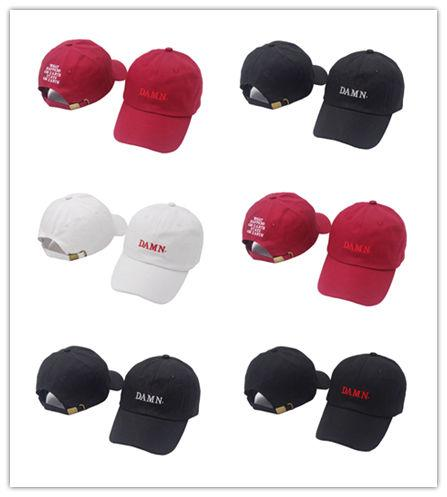 Good Sale 2018 ne'w wine red kendrick lamar damn cap embroidery DAMN. unstructured dad hat bone women men the rapper baseball cap