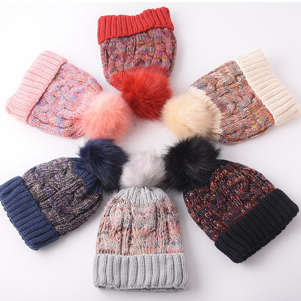 Women Pompon Beanie Hat Fashion Winter Colorful Knitted Fur Ball Hat Outdoor Causal Warm Knit Crochet Ski Cap TTA1516