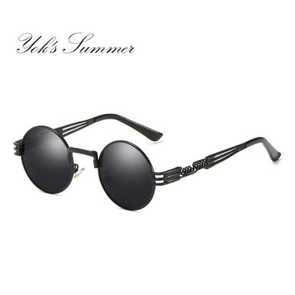 Yok's Hot Sell Small Round Polarized Sunglasses Women Men Brand Steampunk Metal Frame Glasses Hippie Vintage Shade Eyeglasses Oculos UN881