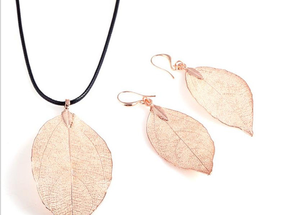 Factory direct sale jewelry wholesale 2017 European and American simple fashion accessories exquisite leaf jewelry set