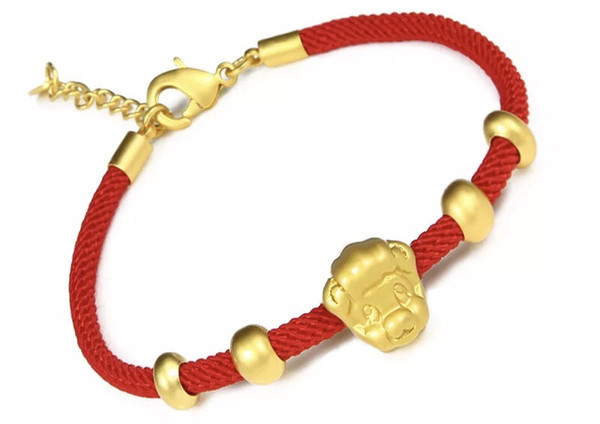 Golden pig transport: red string bracelet with imitation gold hand rope Benmingnian red rope lovers hand string Chinese zodiac bracelet