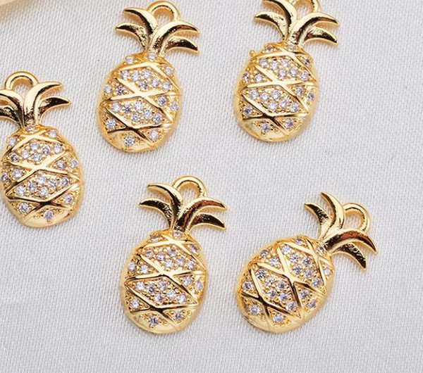 New fine micro-inlaid zirconium pineapple fruit pendant spot copper plating true gold pendant bracelet necklace accessories