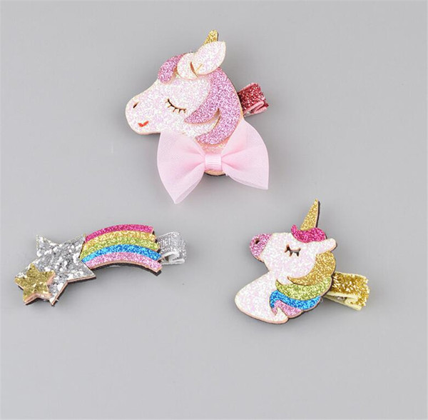 3 Pcs Cute Glitter Unicorn Hair Clips Stars Hairpins Cartoon Barrettes Headwear Fashion Gifts for Girls
