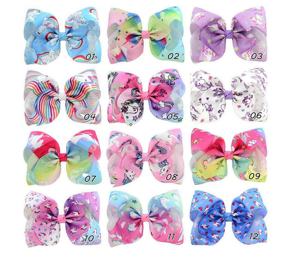 Girls Baby hairpin Rainbow JOJO Bows Kids Children Unicorn Clips children ribbon Bubble Bow Accessory Animal Stripe Hairpins