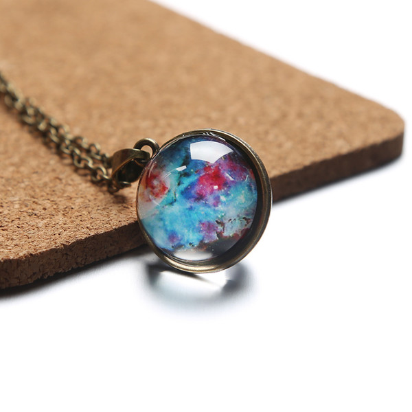 Double-sided Glass Ball Time Gem Restoring Ancient Ways The Moon Pendant Necklace Dream Sky Glow Act The Role Ofing Is Tasted