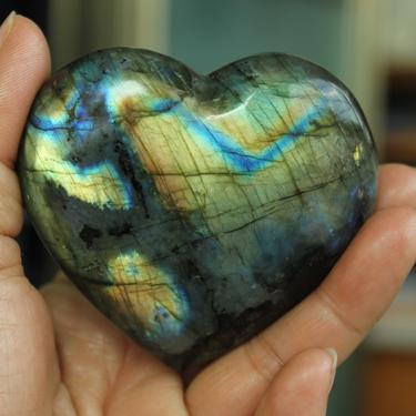 About 200g Natural Heart-shaped Labradorite Crystal Rough Polished healing