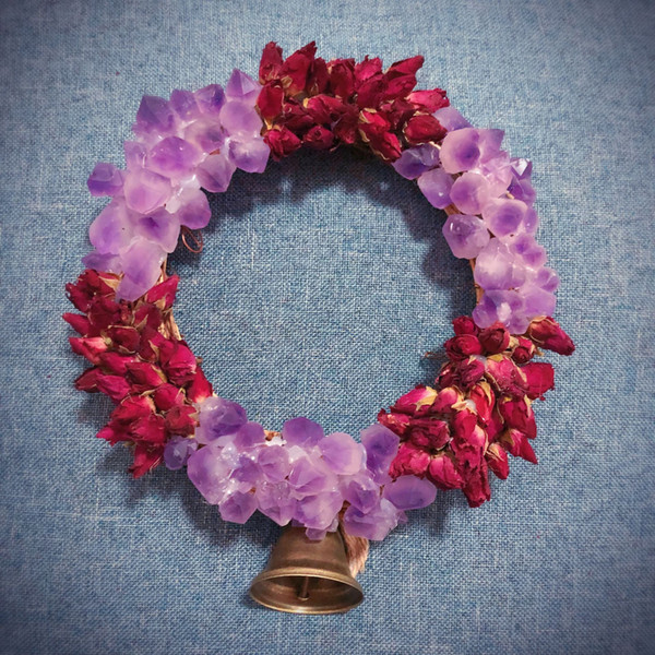 Natural amethyst teeth custom rose garland, home decoration, symbolic love