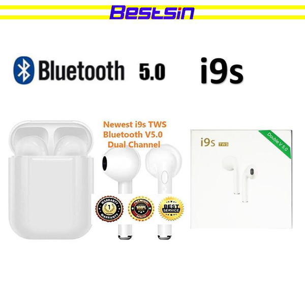 i9s TWS Dual Earphone Bluetooth 5.0 Headset Wireless Earbud with Handsfree Stereo Music QI-Enabled With Charging Box TWS Bestsin