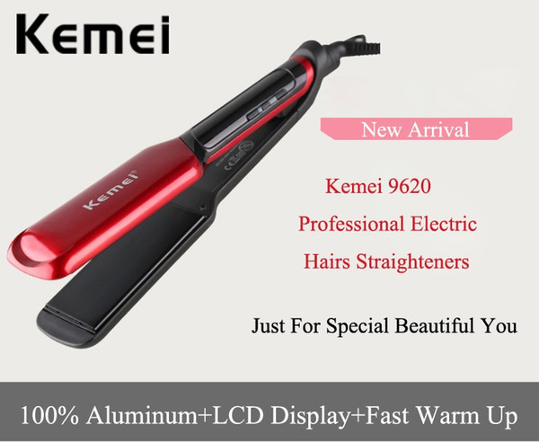 Kemei 9620 LCD Display Flat Iron Digital Temperature Control Straightening Irons Ceramic Hair Straightener 120-230 Degree Ajustable