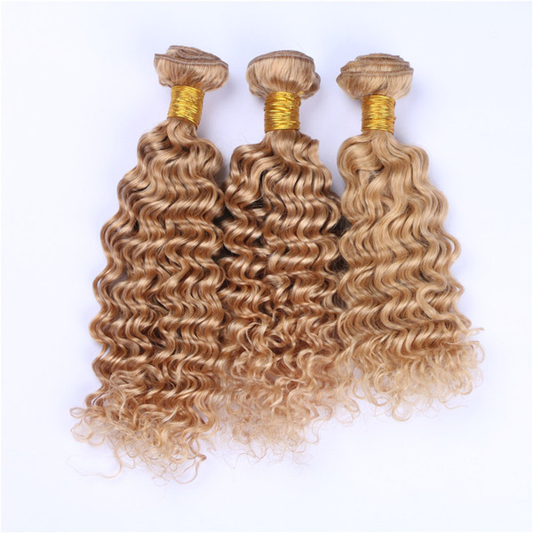 Honey Blonde Hair Bundles Deep Wave Curly Human Hair Extension #27 Strawberry Blonde Human Hair Weaves 3Pcs/Lot