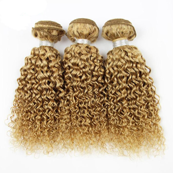 Honey Blonde Deep Wave Curly Hair 3Bundles Hair Extension Brazilian Peruvian Indian Malaysian Remy Hair 8A Grade 27 Strawberry Blonde Bundle