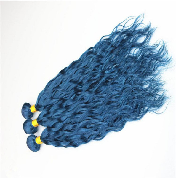 New Arrive Blue Human Hair Bundles Cosplay Fashion Color Deep Curl Hair Extensions Deep Curly Hair Weft For Sale