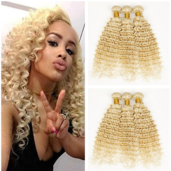 Deep Wave Human Hair Bundles #613 Platinum Blonde Deep Wave Curly Virgin Weaves 3Pcs/Lot Human Hair Brazilian Unprocess Hair Fast Ship