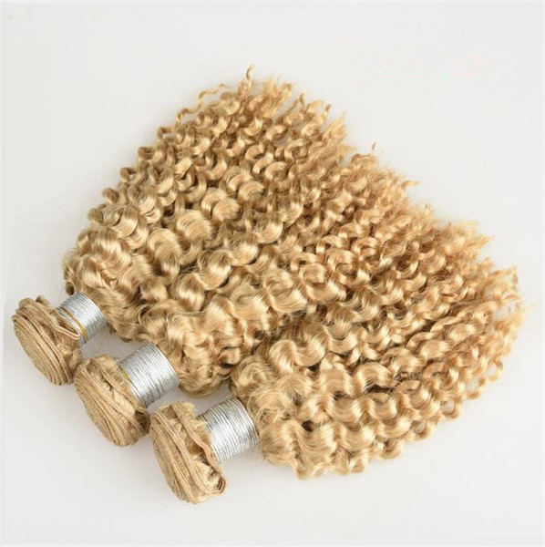 #613 Blonde Kinky Curly Hair Extension Platinum Blonde Human Hair Weaves Blonde Hair Extension 3Pcs/Lot Kinky Curly European Bundles